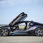 BMW i8 plug-in hybrid with both doors flipped open
