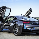 BMW i8 production version with gullwing doors open